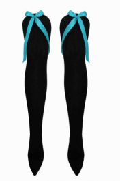 Black OTK Socks with Turquoise Bow (12 Pairs)