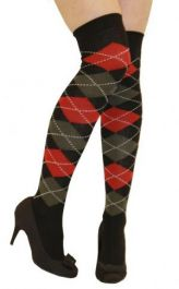 Black & Red Argyle OTK Socks (12 Pairs)