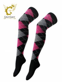Black with Pink and Grey Argyle OTK socks (12 Pairs)