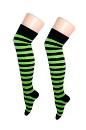 Black & Green Stripe OTK Socks (12 Pairs)