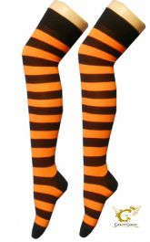 Black & Orange OTK Stripe Socks (12 Pairs)