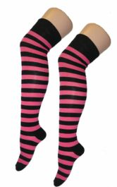 Crazy Chick Black Pink OTK Stripes Socks (12 Pairs)