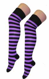 Crazy Chick Black & Purple Stripes OTK Socks (12 Pairs)