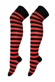 Crazy Chick Black & Red Stripes OTK Socks (12 Pairs)
