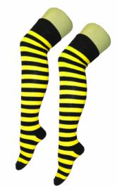 Crazy Chick Black & Yellow OTK Stripe Socks (12 Pairs)