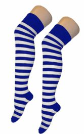 Crazy Chick Blue & White Stripes OTK Socks (12 Pairs)