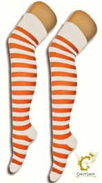 12 Pairs Crazy Chick OTK Stripe Socks Orange & White (12 Pairs)