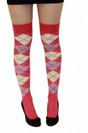 Pink Lilac and Cream Argyle OTK Socks (12 Pairs)