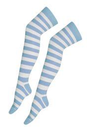 Light Blue White OTK Stripe Socks (12 Pairs)