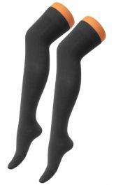 Plain Lycra Black OTK Socks (12 Pairs)