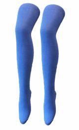 Plain Lycra Turquoise OTK Socks (12 Pairs)