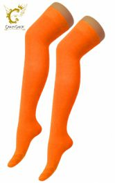 Plain Lycra Orange OTK Socks (12 Pairs)