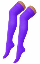 Plain Lycra Purple OTK Socks (12 Pairs)