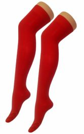 Plain Lycra Red OTK Socks (12 Pairs)