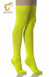 Plain Lycra Neon Yellow OTK Socks (12 Pairs)