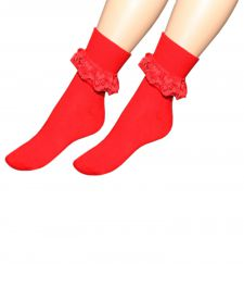 Red Ankle Lace Socks(12 Pairs)