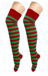 Red Green OTK Stripes Socks (12 Pairs)