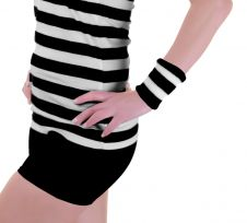 Stripe Wrist Band Black White (12 Pairs)