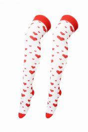 White Red Heart Printed OTK Socks (12 Pairs)