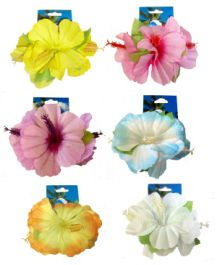 Hibiscus Flower Hair Clips Set (6 Assorted Colours)