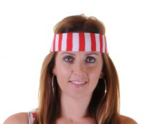 12 Pcs Red & White Stripe Head Band