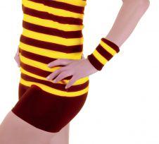 12 Pcs Stripe Wrist Band Maroon Yellow