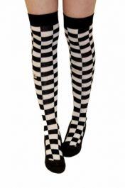 Black & White Checkered OTK Socks (12 Pairs)