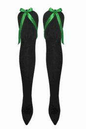 Black OTK Socks with Green Bow (12 Pairs)