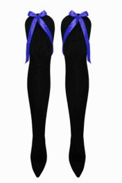 Black OTK Socks with Royal Blue Bow( 12 Pairs)