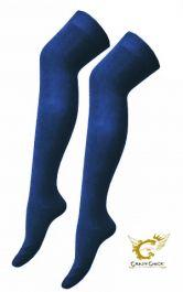Plain Lycra Navy OTK Socks (12 Pairs)