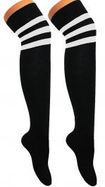 Referee Black and White OTK Socks (12 Pairs)