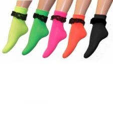 Ankle Neon Lace Socks(12 Pairs)