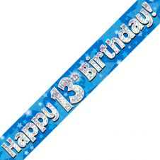 13th Happy Birthday Banner Blue Holographic (9 ft)
