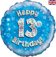 13th Happy Birthday Blue Holographic Balloon (18 Inches)