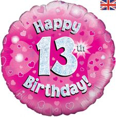 13th Happy Birthday Pink Holographic Balloon (18 Inches)