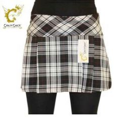 Crazy Chick Box Pleated Black Grey White Tartan Skirt (14 Inches)
