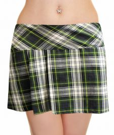 Crazy Chick Box Pleated Green Grey Yellow Tartan Skirt (14 Inches)