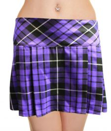 Crazy Chick Box Pleated Purple Tartan Skirt (14 Inches)