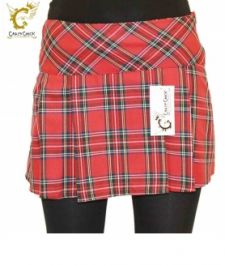 Crazy Chick Box Pleated Red Tartan Skirt (14 Inches)