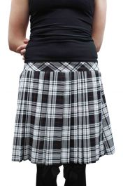 16 Inches Pleated Back Elastic Black White Tartan Skirt