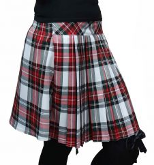 16 Inches Pleated Back Elastic Dark Green Red White Tartan Skirt
