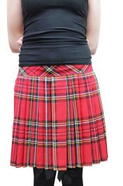 16 Inches Pleated Back Elastic Red Tartan Skirt