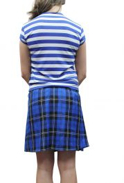 16 Inches Pleated Back Elastic Royal Blue Tartan Skirt