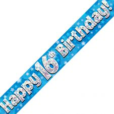16th Happy Birthday Banner Blue Holographic (9 ft)