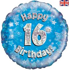 16th Happy Birthday Blue Holographic Balloon (18 Inches)