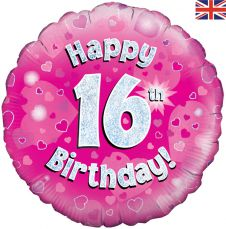 16th Happy Birthday Pink Holographic Balloon (18 Inches)