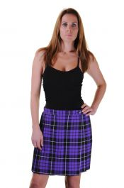 18 Inches Purple Wrap Over Tartan Skirt