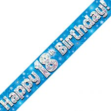18th Happy Birthday Banner Blue Holographic (9 ft)