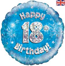 18th Happy Birthday Blue Holographic Balloon (18 Inches)