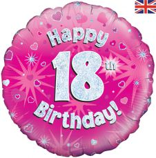 18th Happy Birthday Pink Holographic Balloon (18 Inches)